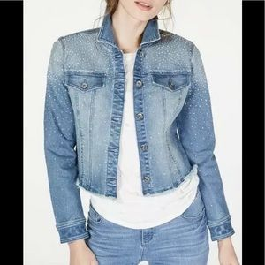 INC cropped rhinestone denim jean jacket blue XS